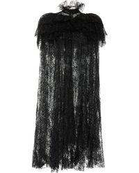 Rodarte Glittered Chantilly Lace Cape - Black