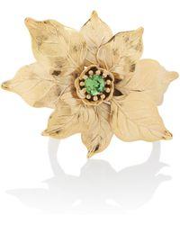 Rodarte Gold Poinsettia Expandable Bracelet With Swarovski Crystal Detail - Metallic