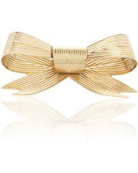 Rodarte Gold Large Ribbed Bow Barrette - Metallic