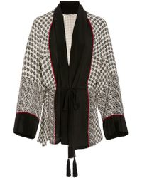 Talitha Scarf Print Short Belted Robe - Black