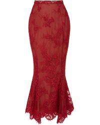 Marchesa Exclusive Floral Mermaid Skirt - Red