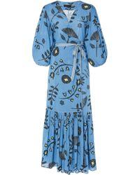 Carolina K Debra Floral Wrap Midi Dress - Blue