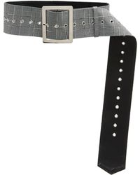 16Arlington - Checked Leather Belt - Lyst