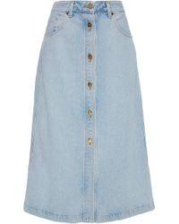 Goldsign - Button Front Original Denim Skirt - Lyst