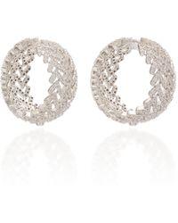 Fallon Laurel Pave Crystal Rhodium-plated Hoop Earrings - Metallic