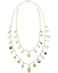 Renee Lewis Antique Gold, Gemstone, And Diamond Charm Necklace - Metallic