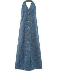 Isa Arfen Linen Denim Halterneck Dress With Crystal Buttons - Blue