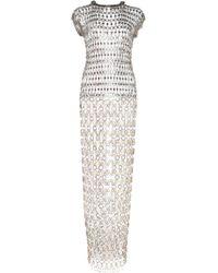 Paco Rabanne - Short Sleeve Brass Chainmail Midi Dress - Lyst