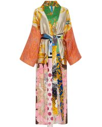 Rianna + Nina - M'o Exclusive Belted Printed Silk-satin Robe - Lyst