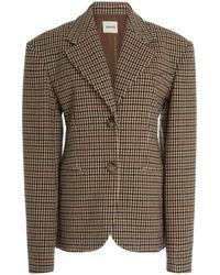 Khaite Kendall Checked Wool-blend Blazer - Brown