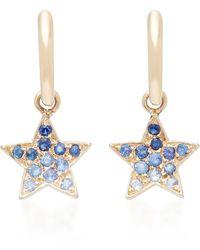 She Bee - 10k Gold Blue Sapphire Star Hoops - Lyst