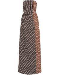Bassike Printed Cotton Strapless Maxi Dress - Brown