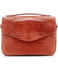 Nancy Gonzalez Lucy Large Linen-trimmed Crocodile Bag - Brown