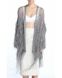 N°21 Chiffon Feather Cape - Grey
