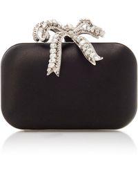 Jimmy Choo Cloud Satin Crystal Bow Clutch Bag - Black