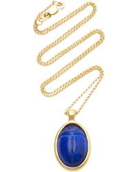 Pamela Love One Of A Kind 18k Gold And Lapis Scarab Necklace - Blue
