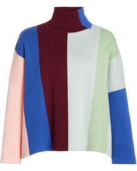 Victoria, Victoria Beckham Oversized Striped Knit Jumper - Multicolour