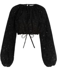 Matteau Broderie-cotton Cropped Blouse - Black