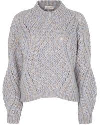 Stine Goya Alex Open-knit Mohair-blend Sweater - Blue