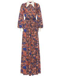 Marc Jacobs Contrast-collar Floral-print Crepe Wide-leg Jumpsuit - Multicolor