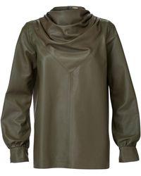 Dodo Bar Or Bilbi Draped Leather Cowl-neck Top - Green