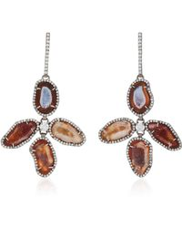Kimberly Mcdonald - Rhodium-plated 18k White Gold, Geode And Diamond Earrings - Lyst