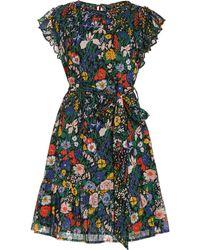 brand: Banjanan Lilian Floral Cotton Mini Dress - Black