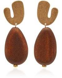 Sophie Monet The Myth Gold-plated Pine Wood Earrings - Brown