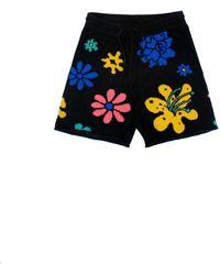 The Elder Statesman Sound Flowers Cashmere Shorts - Black