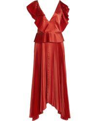 AMUR Liliana Plisse Peplum Dress - Orange