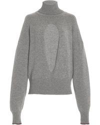 Victoria Beckham Oversized Cutout Cashmere-blend Turtleneck Sweater - Grey