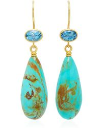 Mallary Marks - Apple & Eve 18k Gold, Aquamarine And Turquoise Earrings - Lyst