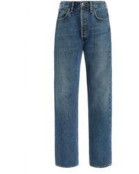 Agolde 90's Pinch-waist Rigid High-rise Organic Cotton Straight-leg Jeans - Blue