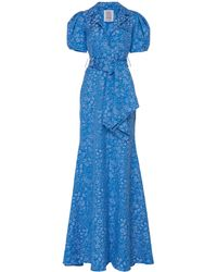 Rosie Assoulin Belted Floral-jacquard Maxi Dress - Blue