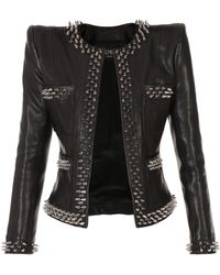 Balmain Collarless Spike-trimmed Leather Jacket - Black