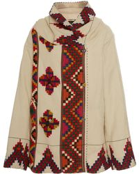 Péro Hooded Double-breasted Printed Wool Jacket - White