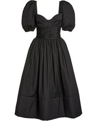 Brock Collection Rosette Puffed-sleeve Cotton A-line Dress - Black