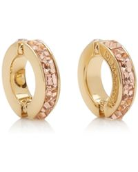 DEMARSON Eden Mismatched 12k Gold And Crystal Ear Cuffs - Pink