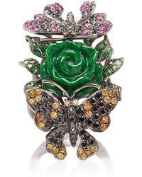 Wendy Yue 18k Gold, Jade, Diamond, Sapphire And Tsavorite Ring - Green