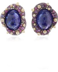 Arunashi - One-of-a-kind Tanzanite And Sapphire Stud Earrings - Lyst