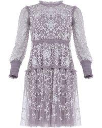 Needle & Thread Whitethorn Embroidered Mini Dress - Purple