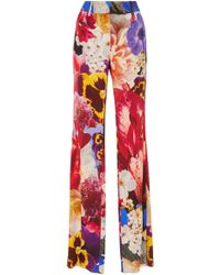 Roberto Cavalli | Floral-print Crepe Straight-leg Trousers | Lyst