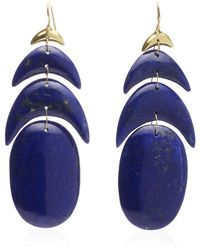 Ten Thousand Things Hand Cut Natural Lapis Peacock Feather Earring - Blue