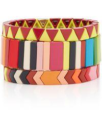 Roxanne Assoulin Set-of-three Picnic Blankets Gold-plated Enamel Bracelets - Multicolour