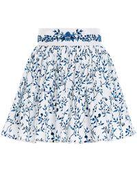 Agua by Agua Bendita Arandano Acacias-print Cotton Poplin Hand Embroidered Detail Mini Skirt - Blue