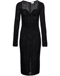 Magda Butrym Semi-sheer Knit Dress - Black