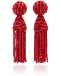 Oscar de la Renta Beaded Tassel Drop Earrings - Red