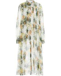 Oscar de la Renta Printed Longline Silk Blouse - Multicolour