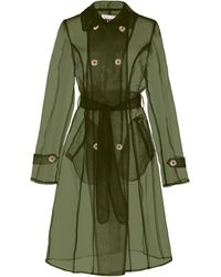 Apparis Oliva Organza Sheer Trench Coat - Green