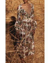 Brock Collection Sabrina Peplum-waist Floral Taffeta Cropped Jacket - Multicolour